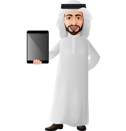 Vector illustration of Arab businessman holding a tablet Illustration
