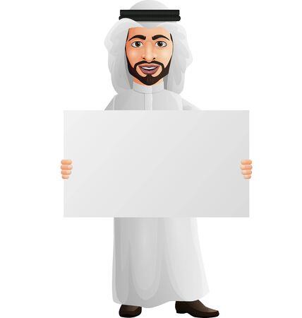 Ilustración de vector de empresario árabe con un cartel en blanco