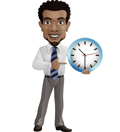 Vector illustration of Cartoon businessman holding and pointing a wall clock Foto de archivo - 133740372