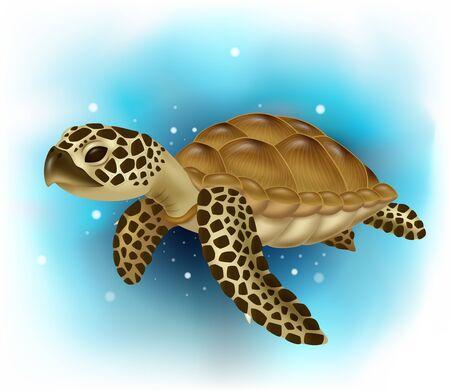Ilustración de vector de tortuga marina nadando en el océano