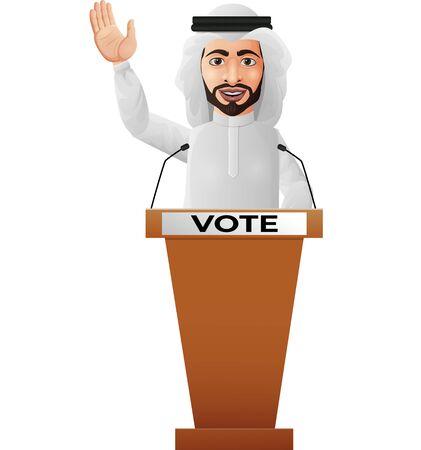 Vector illustration of Arabian businessman speaker on presentation podium