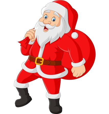 Vector illustration of Santa Claus carrying a bag of the presents Vetores