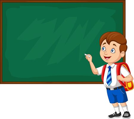 Vector illustration of Cartoon school boy in uniform writing on the blackboard Иллюстрация