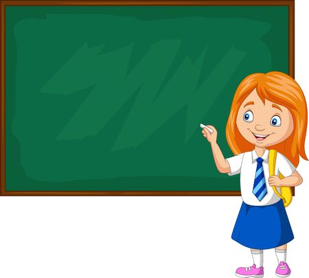 Vector illustration of Cartoon schoolgirl in uniform writing on the blackboard