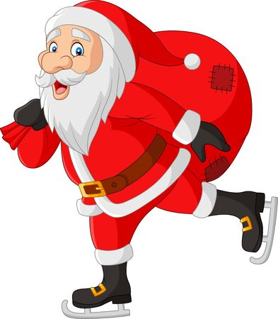 Vector illustration of Cartoon Santa Claus skater carrying a bag of gifts 矢量图像