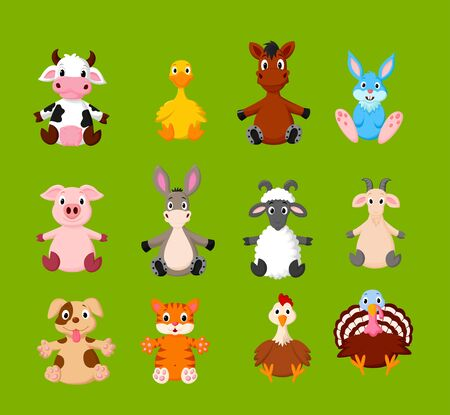 Vector illustration of Cartoon set of cute farm animals