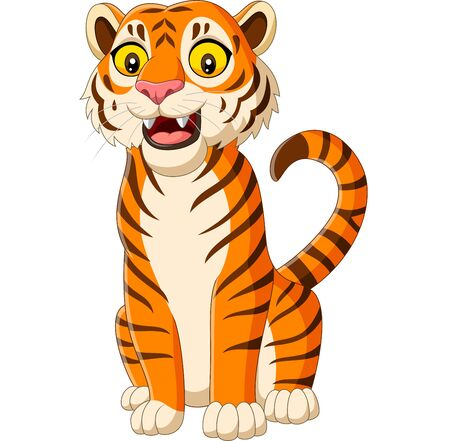 Vector illustration of Cartoon smiling tiger isolated on white background