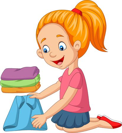 Illustration vectorielle de petite fille de dessin animé pliant un vêtement