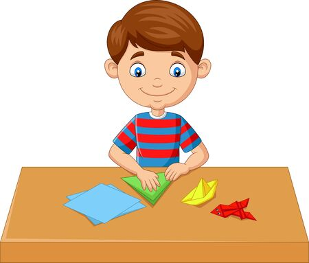 Vector illustration of Little boy folding paper and making origami toys