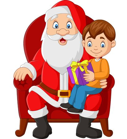 Vector illustration of Santa Claus sitting in chair with a little cute boy