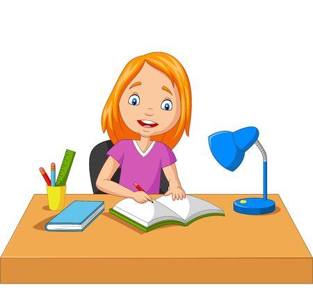Ilustración de vector de niña de dibujos animados estudiando y escribiendo