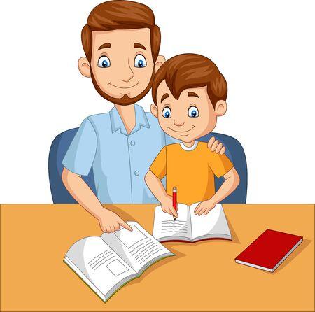Illustration vectorielle du père aidant son fils à faire ses devoirs Vecteurs