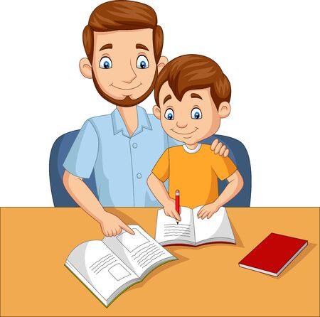 Vector illustration of Father helping his son do homework