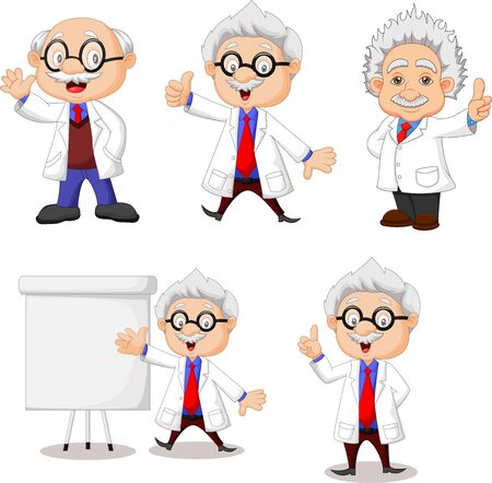 Vector illustration of Cartoon happy scientist collection set Иллюстрация