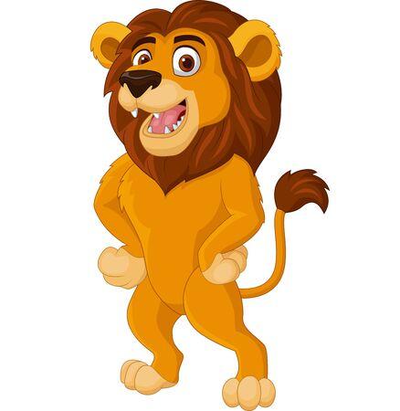 Vector illustration of Cartoon lion posing on white background
