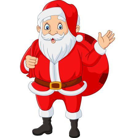 Vektorillustration des Weihnachtsmannes, der eine Tüte mit den winkenden Geschenken trägt Vektorgrafik