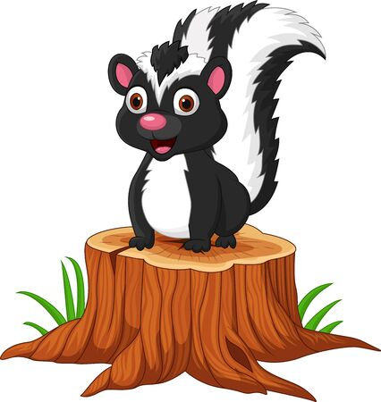 Illustrazione vettoriale di puzzola del bambino del fumetto che si siede sul ceppo di albero