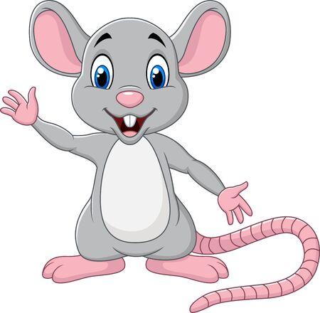 Vector illustration of Cute mouse cartoon waving hand Vektoros illusztráció