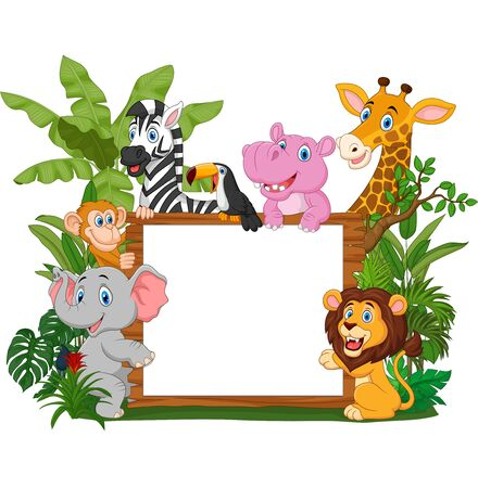 Vector illustration of Cartoon wild animals holding blank board