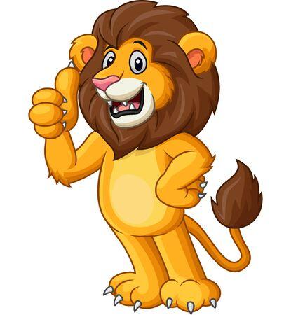 Vector illustration of Cute lion cartoon giving thumb up Illustration