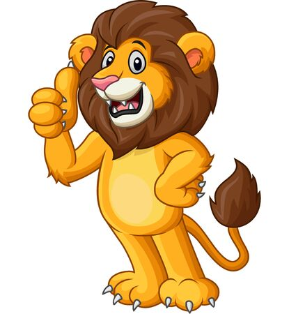 Vector illustration of Cute lion cartoon giving thumb up Stock Illustratie