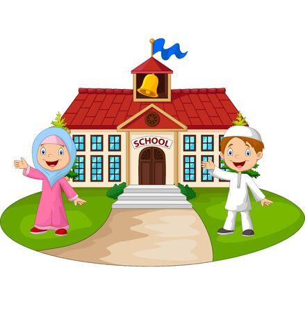 Vector illustration of Happy cartoon Muslim kids in front of school building waving hand