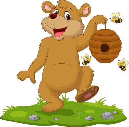 Vector illustration of Cartoon bear holding beehive on the grass 矢量图像