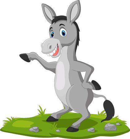 Vector illustration of Cute donkey cartoon waving hand on the grass 向量圖像
