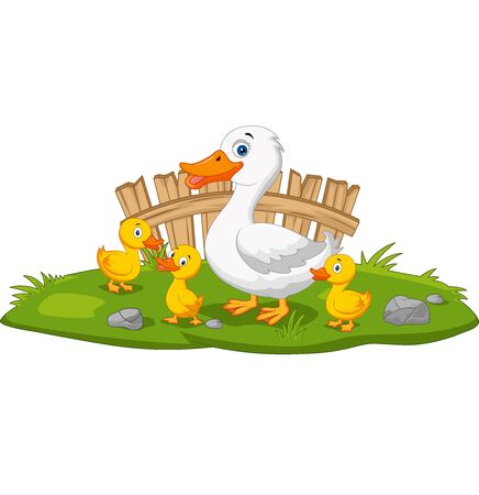 Vector illustration of Cartoon happy mother duck and ducklings