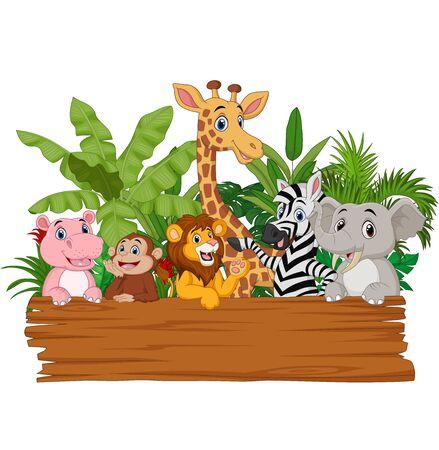 Vector illustration of Cartoon wild animals holding blank board