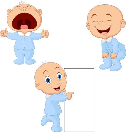 Vector illustration of Cartoon baby boy with different poses Illustration