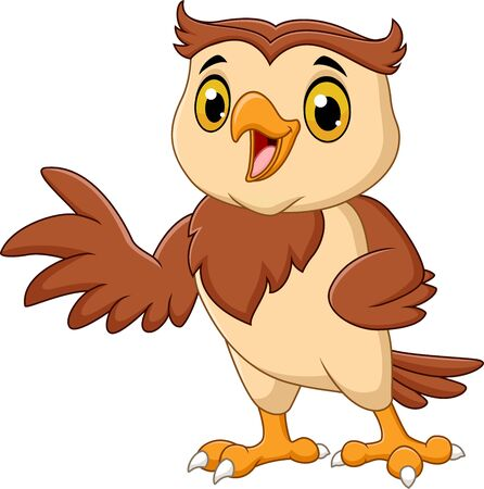 Vector illustration of Cartoon owl waving isolated on white background