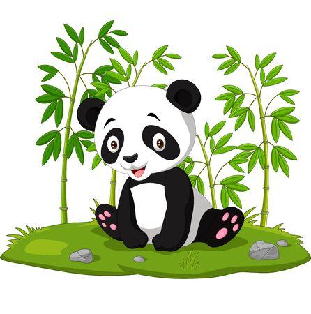 Cartoon baby sitting panda in the jungle bamboo