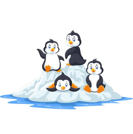 Vector illustration of Group of funny penguins playing on ice floe