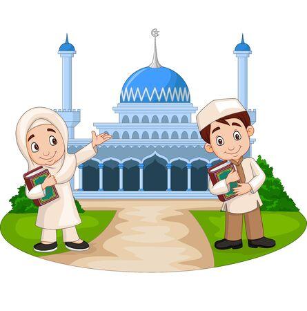 Vector illustration of Happy cartoon Muslim kids in front of mosque