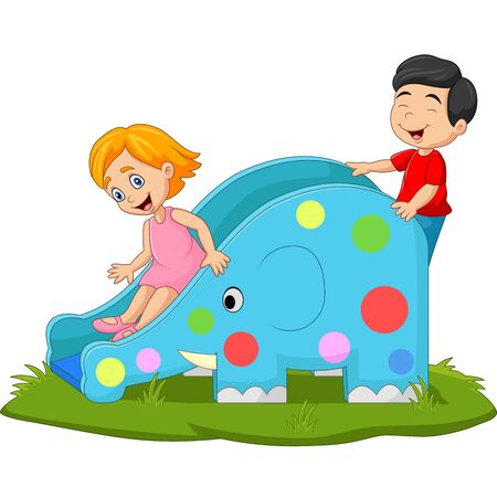 Vector illustration of Little kids playing on elephant slide
