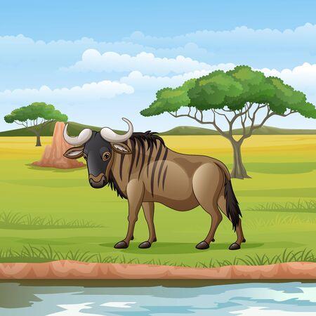 Vector illustration of Cartoon wildebeest in the Savannah Illustration