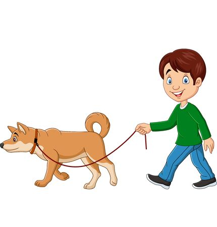 Vector illustration of Cute boy walking with dog