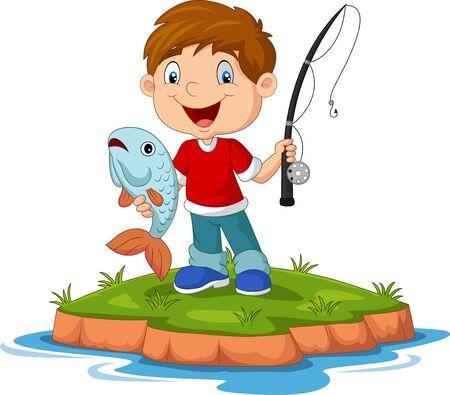 Illustration vectorielle de dessin animé heureux petit garçon pêche