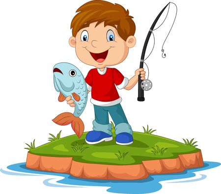 Vector illustration of Cartoon happy little boy fishing