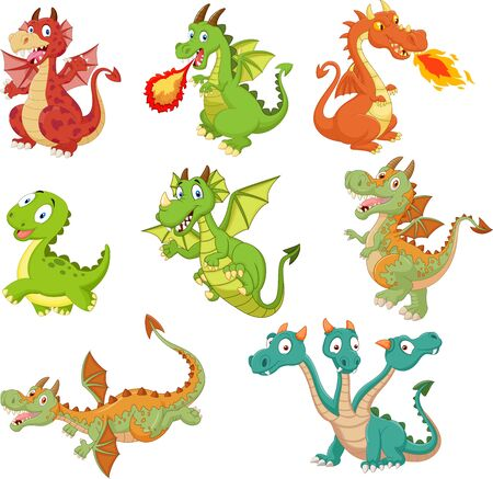 Vector illustration of Set of dragons cartoon on white background