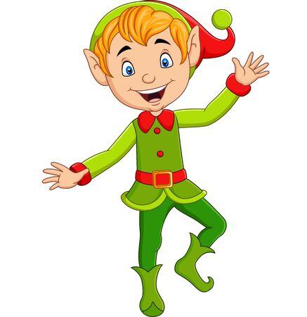 Illustrazione vettoriale di elfo di Natale carino cartone animato che presenta