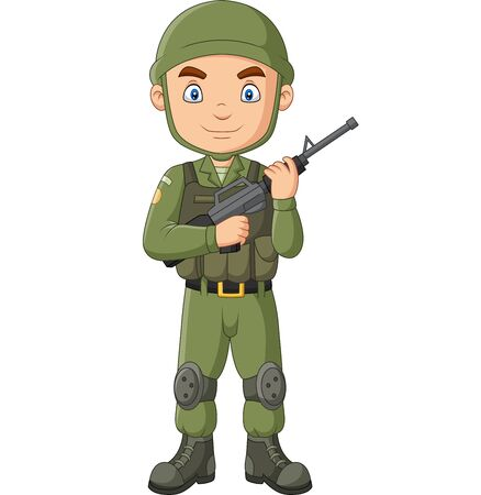 Vector illustration of Cartoon soldier with a shotgun