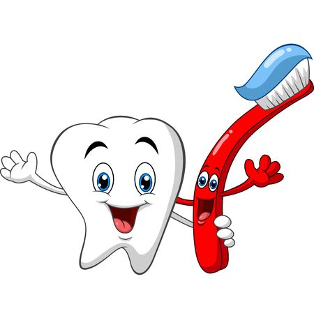Vector illustration of Cartoon dental tooth holding toothbrush Vettoriali