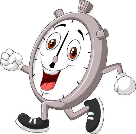 Illustration vectorielle de Cartoon illustration de sourire chronomètre en cours d'exécution