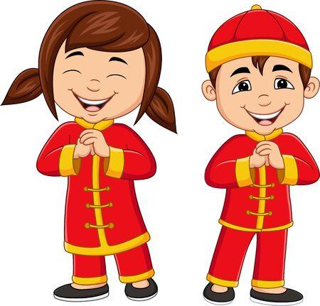 Niños chinos de dibujos animados con traje tradicional chino