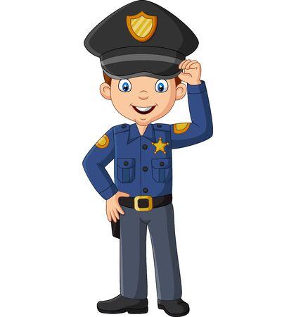 Illustration vectorielle de dessin animé souriant officier policier debout Vecteurs