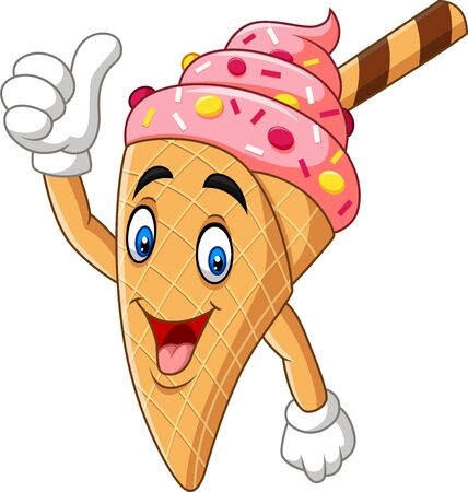 Vector illustration of Cartoon ice cream cone giving thumbs up