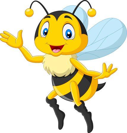 Ilustración de vector de abeja feliz de dibujos animados agitando la mano