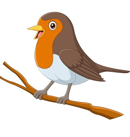 Vector illustration of Cartoon robin bird sitting on a tree branch